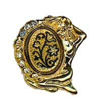 Damascene Gold Virgo the Virgin Zodiac Tie Tack / Pin by Midas of Toledo Spain style 5318