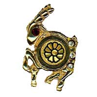 Damascene Gold Capricorn the Goat Zodiac Tie Tack / Pin by Midas of Toledo Spain style 5322