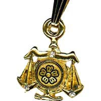 Damascene Gold Libra the Scales Zodiac Pendant on Chain Necklace by Midas of Toledo Spain style 5412